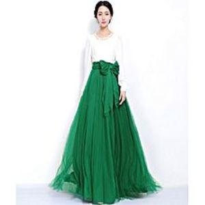 Net WorldBottle Green Silk & Net Maxi For Women