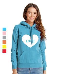 Rex Bazar - Light Blue Love Printed Hoodie For Women