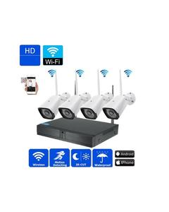 Wifi Nvr Kit 1000GB 1 TBHdd Hd 4Ch Cctv Camera System Waterproof Wireless Camera Outdoor / Indoor - White