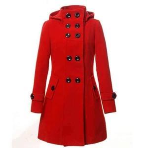 Red Hooded Button Fleece Coat RBS-530