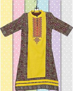 Khaki Cotton Embroidered Kurta For Girls - Gs-220