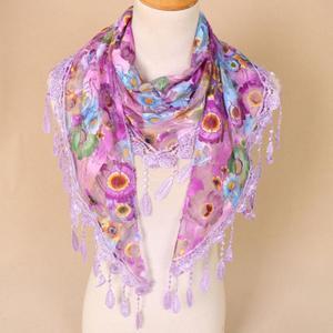Women Lace Tassel Floral Multicolor Print Hollow Scarf Shawl Wraps Scarves