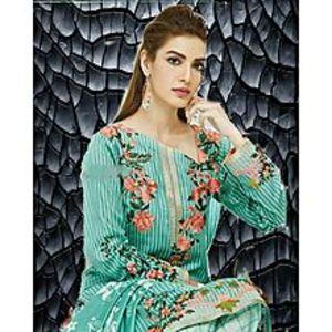 HyperShopLight Green Floret Unstitched Suit For Women - 3 Pcs