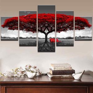 Home Decor Canvas Print Painting Wall Art Modern Red Tree Scenery Bench Gift #20x35x2 20x45x2 20x55