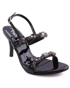 "Gold Women ""AILSA"" Adorned Open Toe Ankle Strap Stiletto Heel Sandals L30094"