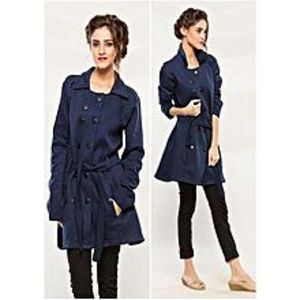 Abdul Collection Navy Blue Fleece Long Coat For Women