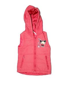 Stylish Pink Sleeveless Printed Zipper Hoodie Jacket for Girl