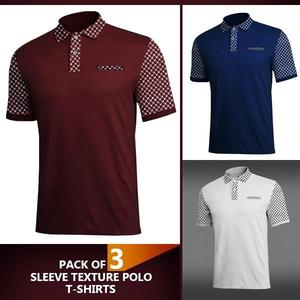 Pack Of 3 Sleeves Texture Polo Tshirts