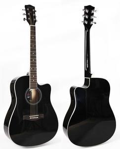 Black 40 inch cutaway linden body acoustic guitar
