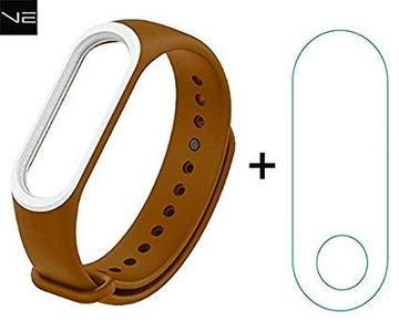 Xiaomi Mi Band 3 Strap -Brown&White and Protector