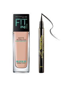 Maybelline New York - Fit Me Matte Poreless Foundation (30ml) With free Colossal Kajal