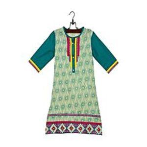 HueYellow Cotton Printed & Embroidered Kurta For Girls