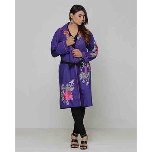 Purple Embroidered Long Jacket for Women