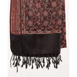 Black,Red & Beige Floral Pashmina Shawl