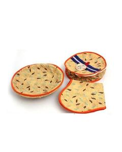 3 Pcs - Multi Designs Roti Basket - Multicolor