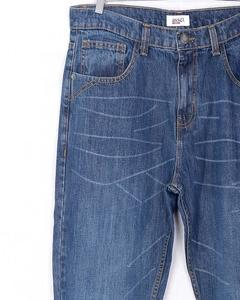 Medium Blue Denim Straight-Leg Jeans With Fine Whiskers & Golden Thread For Men - Relaxed-Fit