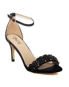 """Black Women """"Wanda"""" Ankle Strap Stiletto Heel Sandals L29907"""