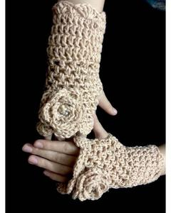 Flower Style Long Crochet Wool Gloves for Women