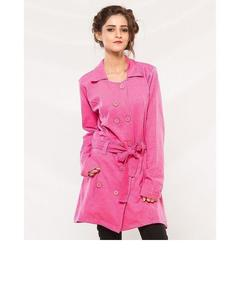 Pink Fleece Long Coat With Front Pockets For Women