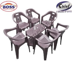 Chief (Boss) Set Of 6 Plastic Chairs And Plastic Table - Grey