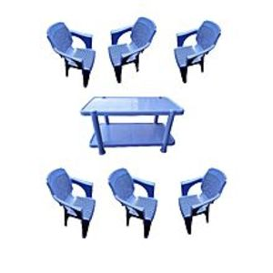 CHIEF(Boss) Set Of 6 Plastic Chairs And Plastic Table - Blue