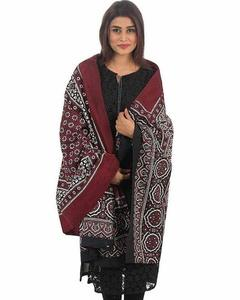 Multicolor Cotton Maroon Printed Sindhi Ajrak - Sa-28-4