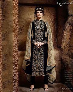 Nakkashi Black Bhagalpuri Jacket Style Suit With Embroidered Front Panel - Nakkashi-3024