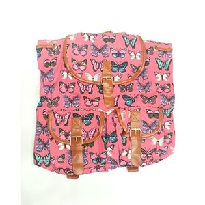 Pink Butterfly College Bag For Girls