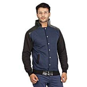 AybeezNavy Blue & Black Baseball Jacket for Men