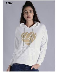 ABBY White Printed Hoodies For Unisex