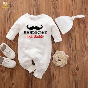 Baby Jumpsuit With Cap Handsome Like daddy (WHITE)