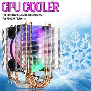 Intelligence 【 Flash Deal】CPU Cooler 4 Heatpipe 4Pin LED RGB Fan for Intel LGA 775/1155/1156/1150/1366 AMD