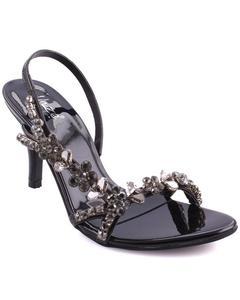 "Black Women ""AILSA"" Adorned Open Toe Ankle Strap Stiletto Heel Sandals L30094"