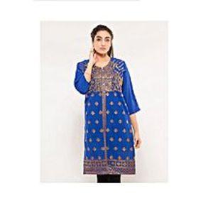 CLICKANDBUYRoyal Blue Cotton Embroidered Kurti For Women