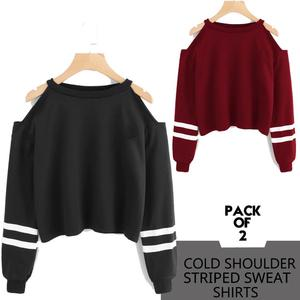 PACK OF 2 COLD STRIPE SHOULDER SWEATSHIRTS ( BLACK N MAROON )