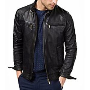 Sheikh Leather Black Sheep Leather Jacket For Men
