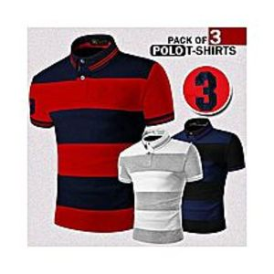 Zewraat Pack Of 3 Contrast Color Polo T-Shirts For Men
