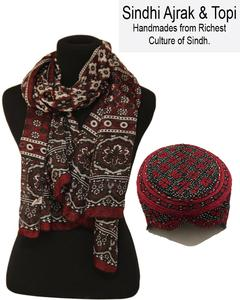 Pack Of 2 - Cotton Ajrak & Sindhi Embroidery Topi - Multi Color
