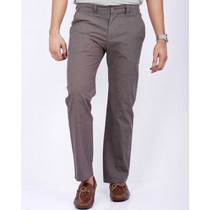 Brown Cotton Casual Chino Pants for Men - Relaxed-fit