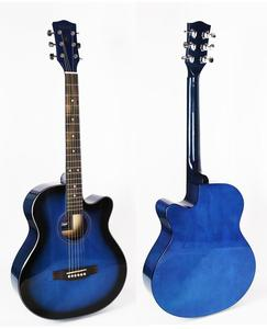 Blue 40 inch cutaway linden body acoustic guitar