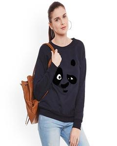 Black Panda Printed Sweat Shirt For Women