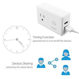 5pcs WiFi Phone Smart Socket US Plug + USB Charger Works For ECHO ALEXA GOOGLE HOME