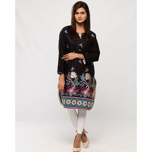 Reigningstones Black Cotton Lawn Embroidered Kurta For Women