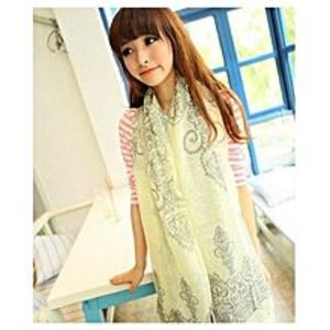 Chinese Dukaan Yellow Floral Women Long Bohemian Printed Wrap Scarf for Girls