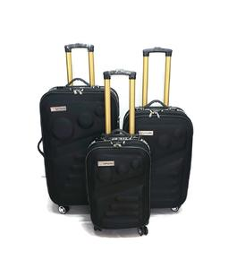 SHOWKOO Luggage Sets 3 Piece Softshell  Double Spinner Wheels / Black