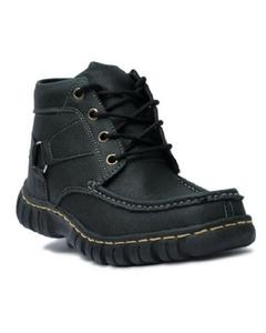 Black Leather Trekking Shoes For Men