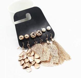 Vintage Gold Color Leaves Long Tassel Simulated Pearl Stud Earrings Set For Women (wing yuk tak 6 Pairs/Sets)