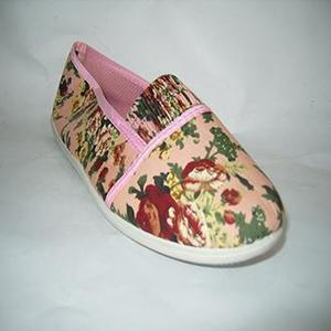 Pink Floral Canvas Imp Slip Ons Shoes For Women