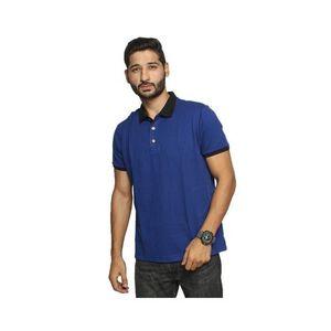 Dark Blue Cotton Pique Polo Shirt for Men