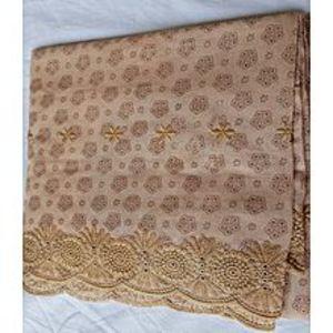 Kashmir ShawlSummer Lawn Shawl - Embroidery Chicken Print - Earth Yellow